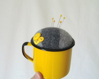 Pincushion Gray Yellow Enamelware with Buttons Repurposed Make-Do Pin Keep