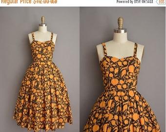Anniversary SHOP SALE... 1960s golden floral cotton vintage dress / vintage 1960s dress
