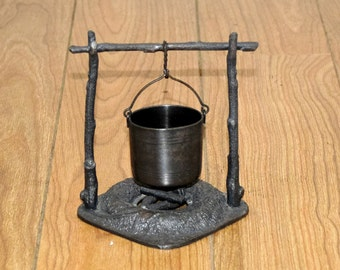 Antique James W Tufts Silverplate Bucket Pot Over Pewter Fire Pit Campfire Toothpick Match Holder