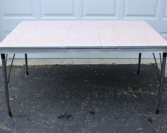 rare vintage retro formica chrome pink blue speckled diner style kitchen table - Chrome Kitchen Table
