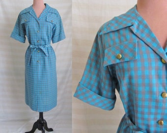 REDUCED PRICE Vintage 60s Day Dress, Button Down Shirt Waist, Checked, Cuff Sleeves, Size XL