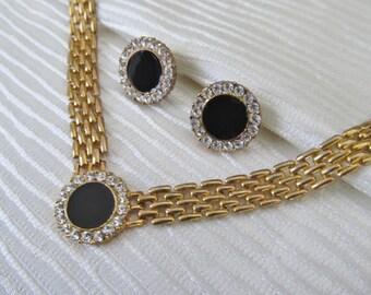 Bling and Glitz Demi Parure Studs Earrings and Mesh Necklace Choker Style, Pierced Post, Black Enamel Rhinestone Vintage 80s
