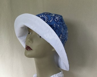 Ladies Sun Hat, Floppy Hat, Gardening Hat, Big Brim Hat, Easy Pack Hat, Take Me Anywhere, Sun Hat, Ladies Beach Hat, Blue Sun Hat, White Hat