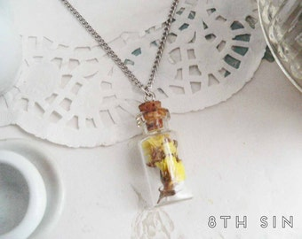 Antique Silver & Yellow Dried Flower Bottle Necklace, Glass Bottle Necklace, Glass Vial Necklace, Yellow Flower Bottle Necklace, Flower Vial