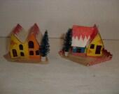 E) Two Small Cardboard Christmas Houses