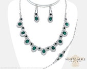 Emerald Green Rhinestone Necklace Set, Wedding Jewelry Set, Bridal Statement Necklace, Vintage Inspired Necklace