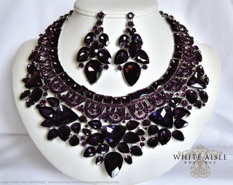 Purple Crystal Necklace Set, Bridal Statement Necklace, Wedding Jewelry Set, Vintage Inspired Necklace, Chunky Necklace