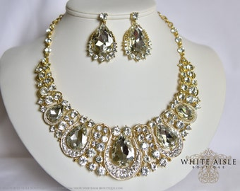 Crystal Necklace, Gold Bridal Statement Necklace Earring Set, Bridal Jewelry Set, Vintage Style, Hollywood Glamour, Chunky Necklace