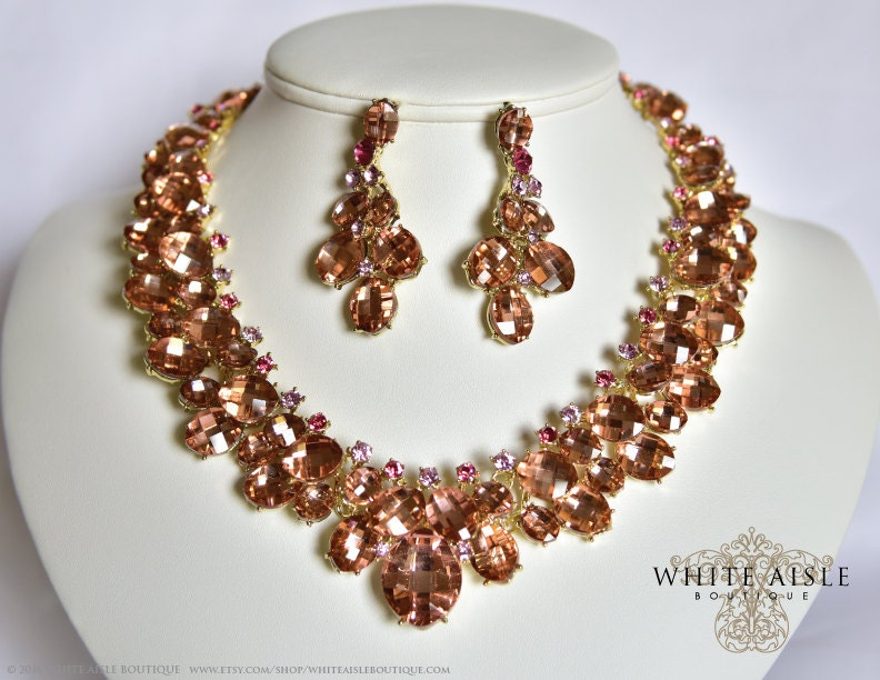 Peach Wedding Jewelry Set, Crystal Statement Necklace Earrings ...