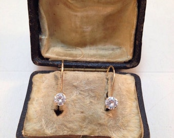 Vintage 10k drop earrings with amazing sparkle