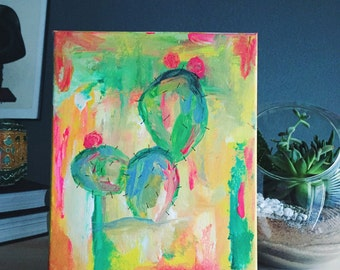 SALE // original painting // prickly pear cactus
