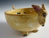 Ceramic Fawn Cream Blond doxie bowl - Pottery Dachshund bowl - Majolica Bowl - Whimsical Dachshund - Weiner Dog - Heart