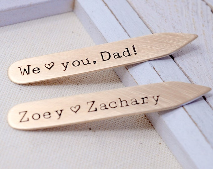 Father's Day Bronze Collar Stays - Personalized Collar Stiffeners - Gift for Dad Father Grandfather - Daddy's Girl - Wedding Keepsake
