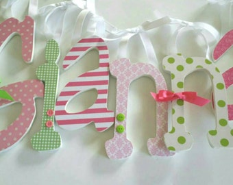 Wooden Letters, Girls Nursery, GIANNA'S THEME, Pink and Green, Baby Girl, Personalized Name Letter, avail in any size or font in this shop
