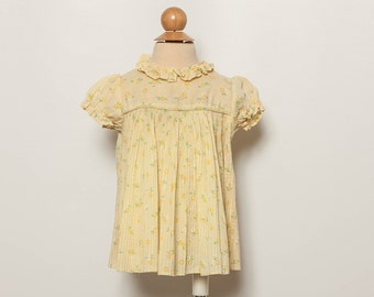 vintage 1970s baby girl's prairie dress yellow floral print