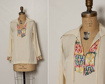 vintage 70s embroidered tunic