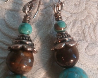 Turquoise Tigers Eye Hand Crafted Dangel Earrings in Gift Box