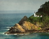 Heceta Head Lighthouse.  Seascape wall art or wall art from still photography.  Fine art print for home decor or wall art.