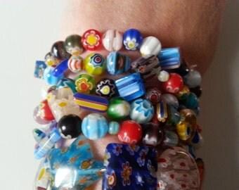 Bohemian, hippie, millefiori, 6 bracelets, lampwork glass, mix colour, stretchy bracelets, red, green, blue, white, by NewellsJewels on etsy