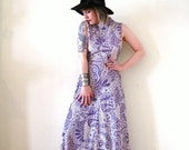 BIG ASS SALE vintage 60s 70s purple and white lurex maxi dress floralpolka dot  paisley boho hippie Mod psychedelic Nye