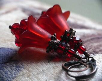 Bloodflower Earrings - Dark Red Lucite Flower Earrings in Copper