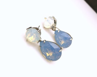 bridesmaid gift earrings christmas prom bridal wedding Swarovski white opal round stud air blue opal teardrop fancy crystal rhinestone post