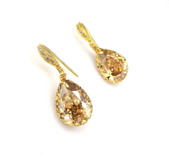 Swarovski golden shadow teardrop fancy rhinestone crystal foiled drop gold plated sterling silver hook wedding bridal prom gift earrings