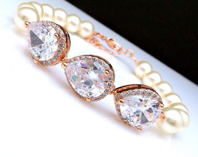 Wedding jewelry bridal bracelet bridesmaid gift Clear white halo teardrop cubic zirconia rose gold swarovski 8mm white cream round pearl