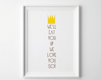 Where The Wild Things are Print, Nursery Art, Gift for Baby Shower, Gift for new mom, Trending Items, Trending Now