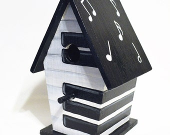 Music, Piano Key, Hand Painted Birdhouse