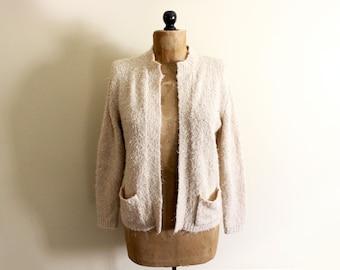 vintage sweater cardigan womens 1970s clothing light beige oatmeal size medium m