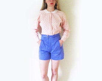 SALE vintage shorts 80's high waisted womens clothing lavender purple 1980s retro small s 4 6