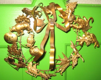 Antique All Holiday Brass Dresden Metal Wreath