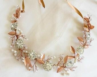 Rose gold headband or Rose gold bridal sash, Rhinestone headband, vine