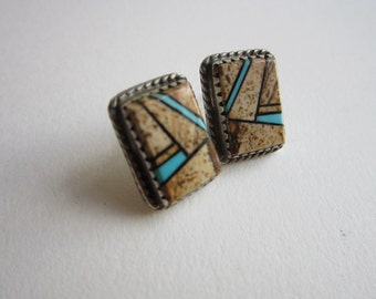 vintage sterling silver earrings with multi-stone inlay - signed BGM