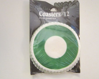 vintage paper coasters - GREEN bullseye with scalloped edges - set of 12