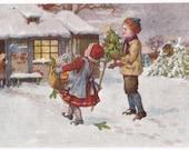 Artist Signed - Antique Christmas Postcard - Christmas Postcards, Children, Snow, Winter, Gifts, Presents, Cottages, Paper, Ephemera