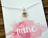 Bee Mine Necklace. Sterling Silver Bee Necklace. Bee Charm Necklace. Valentines Day Necklace. Tiny Bee Necklace.