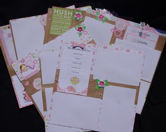 Baby Girl 10~page Premade Scrapbook Layouts, just add album & Photos journal cards