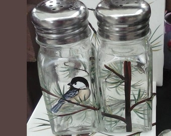 Large Chickadee Salt and Pepper Shakers Hand-painted Glass Bird Salt & Pepper Shakers by Lisa Hayward