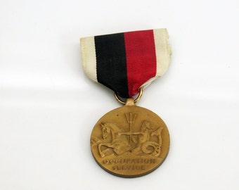 WWII Occupation Service Medal United States Navy Neptune Roman Mythology Bronze