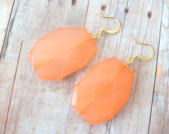 P E A C H E S - Light Coral Peach, Acrylic Faceted Chunky Statement Bead, Gold Plated Dangle Earrings