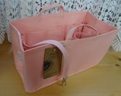 Purse/Diaper Bag Organizer Shaper/14.5x7x7H/PASTEL PINK/Fits Neverfull GM/Stiff wipe-clean bottom,handles,key fob& bottle loop/Ready to ship