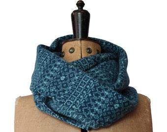 Teal & blue snood, Fair Isle snood, infinity scarf, loop scarf, blue snood, blue snood, wool snood, lambswool, ski scarf, patterned snood