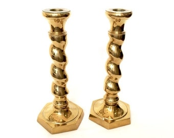SUMMER SALE Solid Brass Twist Candlesticks / Ornate Twisted design / Heavy Brass Candle Holders
