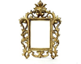 SUMMER SALE Ornate Brass Filigree Picture Frame / Hollywood Regency Wall Decor