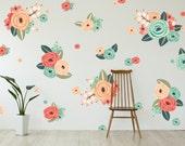 Vinyl Wall Sticker Decals - Graphic Flower Clusters