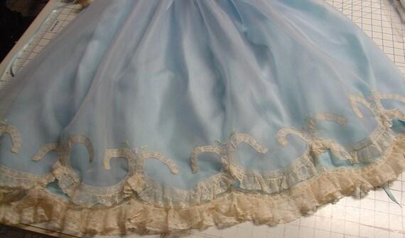 SALE Heirloom Dress size 5 dusty blue nelona/silk organza/ecru  Hand embroidery Pageant Portrait Holiday Wedding