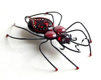 Whimsical Miss Whimsy the Black and Red Large Painted Spider
