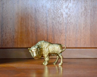 vintage brass buffalo figurine